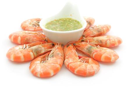 camaron: Camarones con salsa de mariscos, cocidos, hervidos