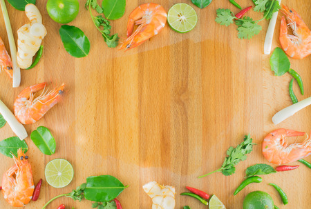 space text: Ingredients for Thai Spicy Soup, Preparing, Cooking, with Free Space Text, TOM YUM Stock Photo