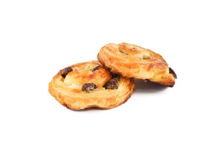 pasteleria francesa: Pasas de pastelería danesa aislado, fondo blanco