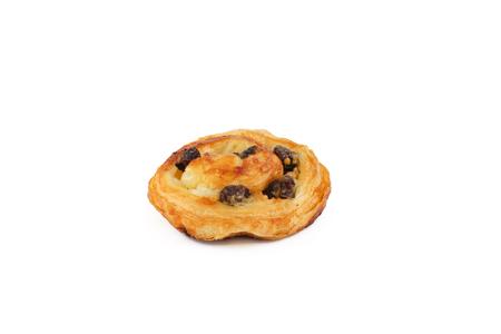 danish puff pastry: Raisin Danish Pastry Isolated, White Background Stock Photo