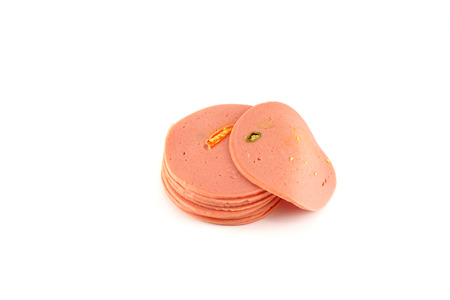 bologna baloney: Spicy Bologna Ham Slides Isolated, White Background Stock Photo