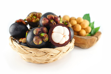 Mangosteen and Longkong on White Wooden Background Stock Photo