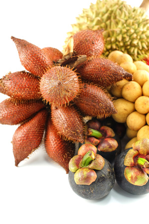 Durian, Rambutan, Mangosteen Longkong and Salacca Isolated, White Background