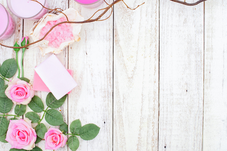 salt flat: Pink Roses Vintage on White Wooden Background, Flat Lay Style
