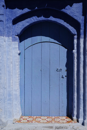 Traditional and Beautiful Blue Door,Old Medina, Chefchaouen, Blue City of northwest Morocco