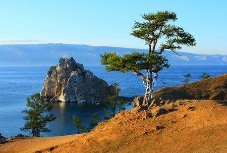 shamanism: Shaman rock near Burkhan mull. Baikal Stock Photo