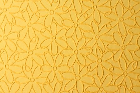 Yellow wallpaper with the flowers photo