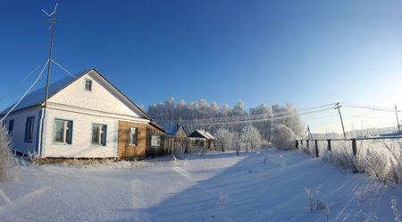 winter dacha house russian snow life village photo