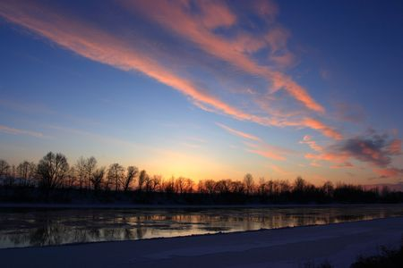 beauty sunset on the river photo