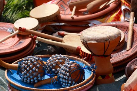 Drums, maraca and other percussion. Group of object Stock Photo