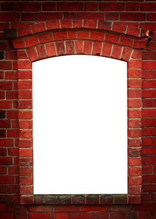 ornamente: Red old brick framework with white. Dark angles.  Stock Photo