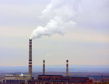 Smoke from the pipes of factory. Gloomy form Stock Photo - 3706788