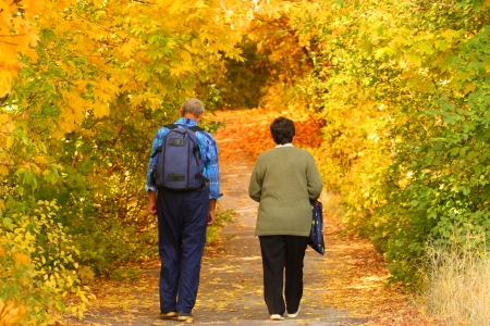 healthy path: Elderly pair goes for a walk in the autumnal park Stock Photo