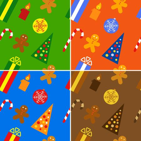 Christmas seamless backgrounds set. Brown, blue, green, orange colors. Stock Photo - 3882607