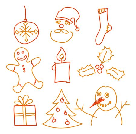 Hand drawing christmas decorations. Santa, snowman, cookie and other. photo