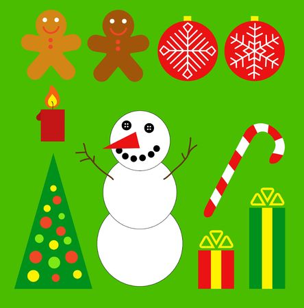 Christmas set. Snowman, gifts, ball, tree, cake. Stock Photo - 3882602