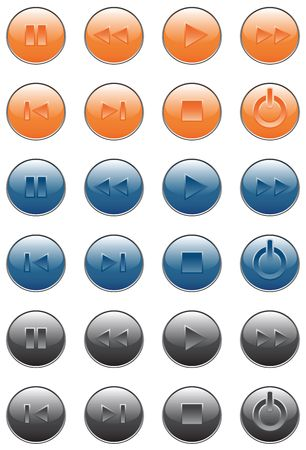 Player buttons. Orange, blue, black colors. photo