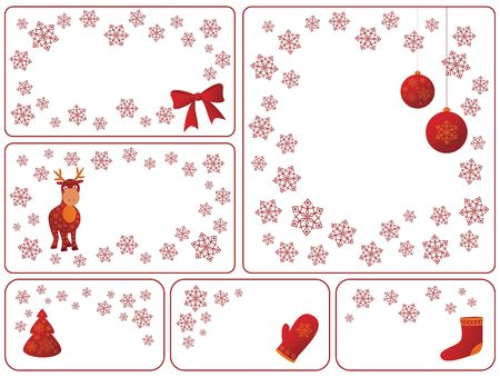 Christmas greeting cards with snowflakes and objects photo