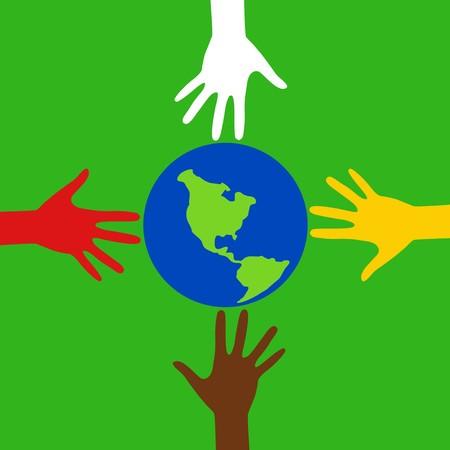 Carrera de las manos con la Tierra Foto de archivo - 3948559