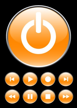 Orange circle buttons for player. photo