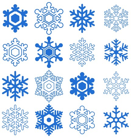 illustrations and vector art: Snowflake set
