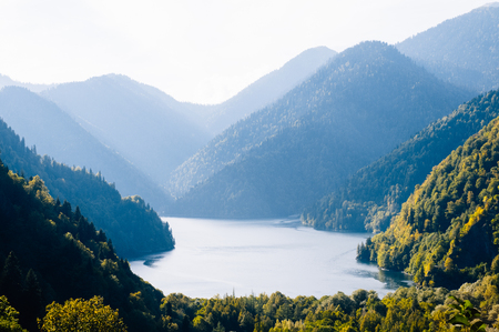 Great view of the popular tourist attraction. Location location lake Rizza in Northern Caucasia, Europe. Beauty world
