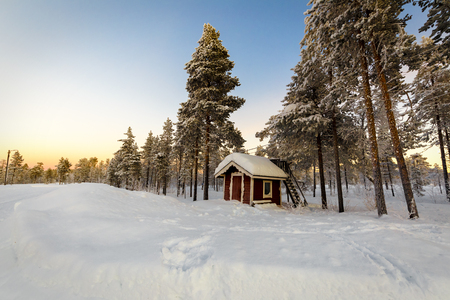 House in the village in winter