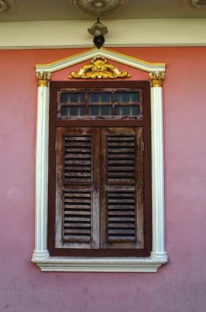 portugese: window of chino portugese house in Phuket