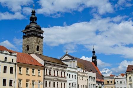 ceske: tower and building in Ceske Budejovice