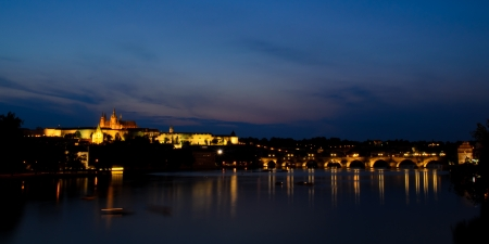 castle district: castle district in prague, czech republic, at night Editorial