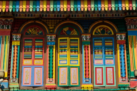 house gable: colorful houses in little india, Singapore
