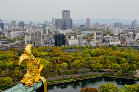 osaka castle: golden killer whale of Osaka Castle and city of Osaka