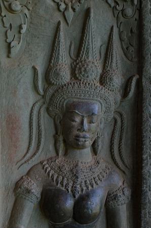 apsara: Apsara sculpture at Angkor Wat Stock Photo