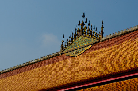 lao: roof of buddhist temple in Luang Prabang Lao Stock Photo