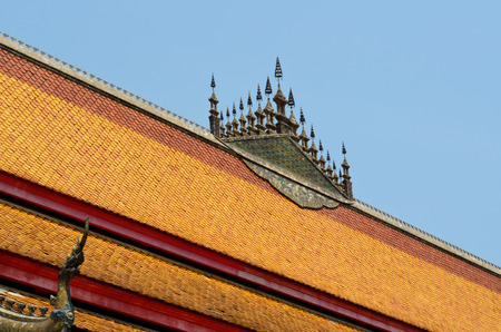 lao: spike on a roof of buddhist temple in Luang Prabang Lao Stock Photo