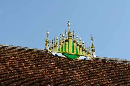 buddhist temple roof: roof of buddhist temple in Luang Prabang Lao Stock Photo