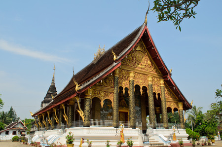 mediation: mediation hall of buddhist temple in Luang Prabang Lao Stock Photo