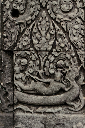 vishnu: Carving of lying VIshnu at Banteay Samre Stock Photo