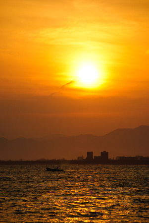 urbanscape: Sunset at the city. Enoshima Japan. Stock Photo