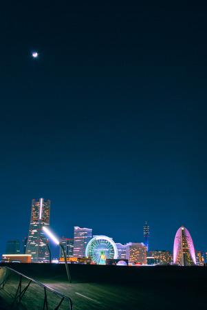 urbanscape: Yokohama at night under the cresnt moon taken from Osahnbashi Pier