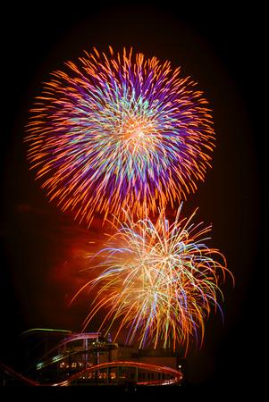 hanabi: Colorfull fireworks at the amusement park at Yokohama, Japan