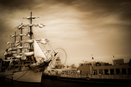 urbanscape: Ship museum exhibition at the city. Yokohama, Japan.