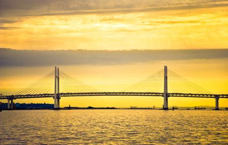Yokohama Bay Bridge at morning sunrise