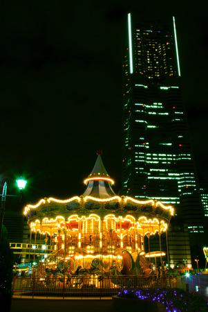 urbanscape: Carousel at night. Yokohama, Japan at night. Editorial