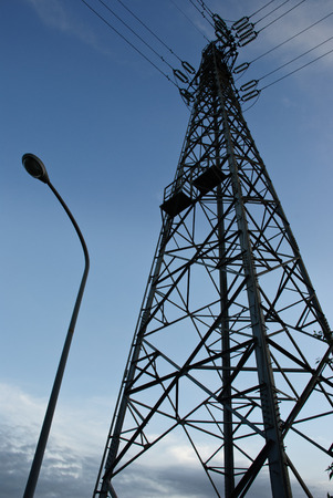 light transmission: Transmission cable steel tower for electricity distribution