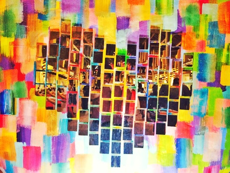 backgound: Mirrored heart in colored backgound