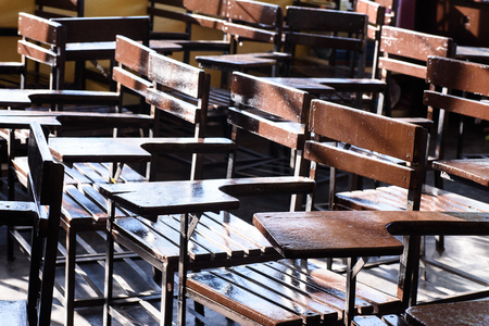 vacant: Vacant chairs waiting for school opening