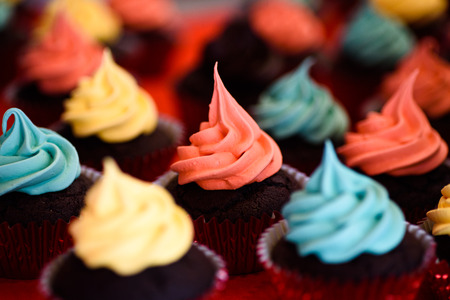 mouth watering: Mouth watering cupcakes with colorful icing.