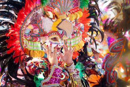 colour: Colorful mask during the dance parade at Masskara Festival, Bacolod City, Philippines Stock Photo