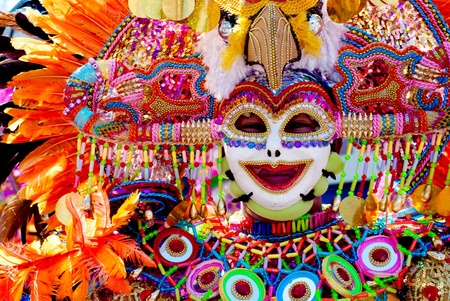 Colorful mask during the dance parade at Masskara Festival, Bacolod City, Philippines Stok Fotoğraf
